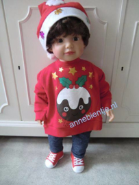 Kersttrui BABY Little Pudding Rood