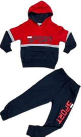 Joggingpak - Kleur Rood  set bestaat uit een hoodie met bijpassende jogger  Materiaal:95% katoen, 5% elasthan