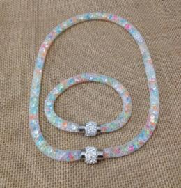 1 ketting en 1 armband met Crystal stenen gevulde magnetische sluiting