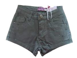 Korte broek met verstelbare taille en leuke steentjes op de zakken kleur Kakki