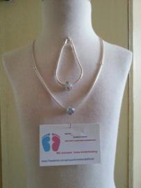 (1)Mooie zwaar VERZILVERDE Mandina halsketting 50 cm en armband van 18 cm.