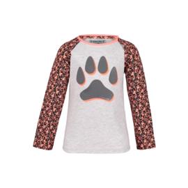 Deze trui is favoriet onder onze dierenliefhebbers! Op het lichtgrijze katoenen gedeelte staat een mooie grote hondenpoot gedrukt.  Op de mouwtjes van deze trui staat de bekende Dusty Rose print (legerprint met hondenpootjes).