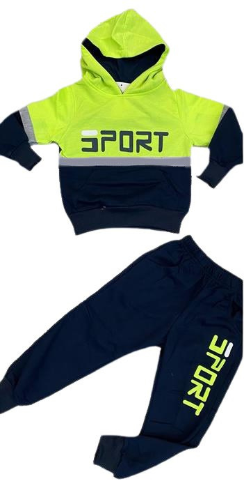 Joggingpak - Sport geel Stoere joggset Sport! De set bestaat uit een hoodie met bijpassende jogger  Materiaal:95% katoen, 5% elasthan.