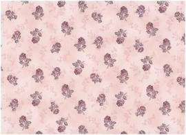 Quiltstof Stof A/S middenrose met donkerrood/bruin bloemetje 201