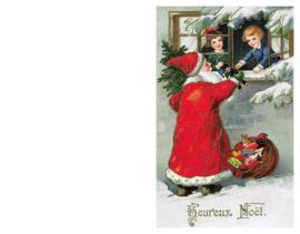 Kerstkaart kerstman met cadeaus