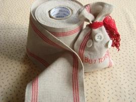 Dubbele linnenband, rood/beige