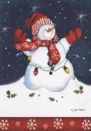 Kerstkaart Sneeuwpop #3