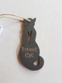 Houten label Sweet Cat d.grijs