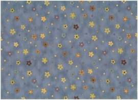 Quiltstof Stof A/S middenblauw met gekleurde bloemen 559