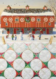 Kerstkaart Red Barn Snowball Quilt