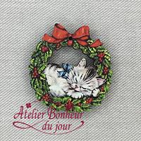 Knoopje kerstkrans met kat