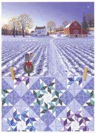 Kerstkaart met quilt en winterlandschap