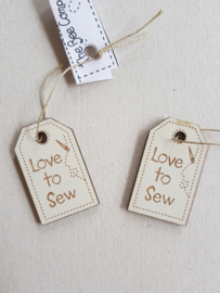 Houten Label Love to Sew (creme)