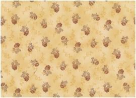 Quiltstof Stof A/S middengeel met bruin bloemetje 201