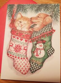 Kerstkaart Kat en Hond