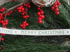 Kerstbandje Merry Christmas (groen)