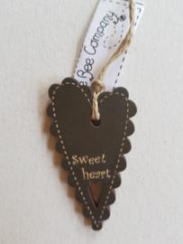 Houten label Sweet Heart d.grijs