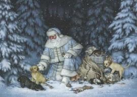 Kerstkaart Santa met puppies en kittens