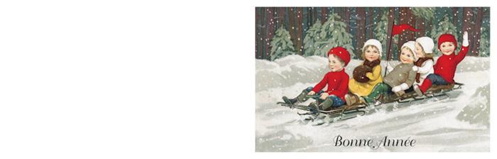 Kerstkaart kinderen op slee