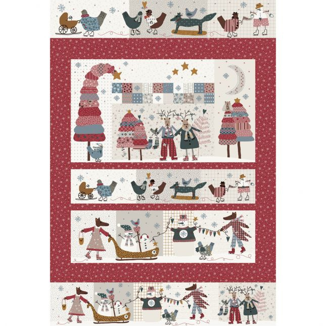 Quilt Panel Winter Playground rood - Lynette Anderson