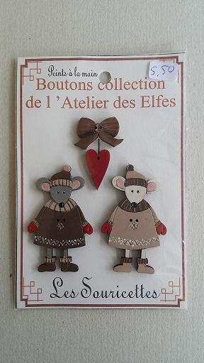 Houten knoopjes muizen  #018