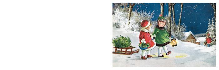 Kerstkaart kinderen met lantaarn