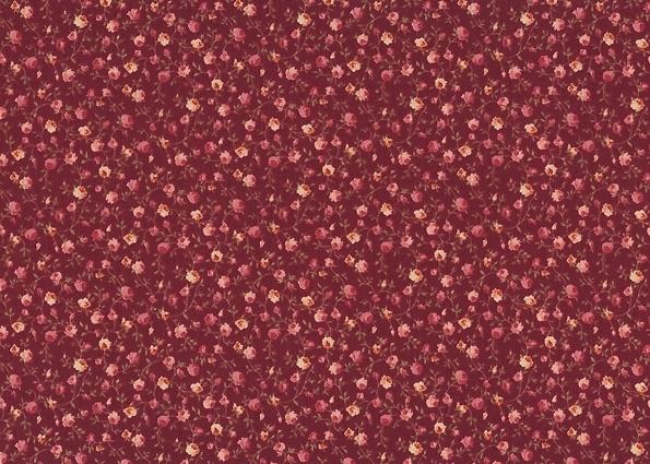 Quiltstof Stof A/S Rosies Garden, roosjes op d.rode ondergrond  405