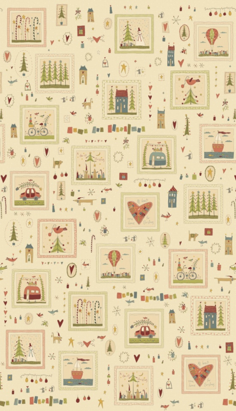 Quiltstof Panel Home for Christmas - Hatched and Patched 2070-44