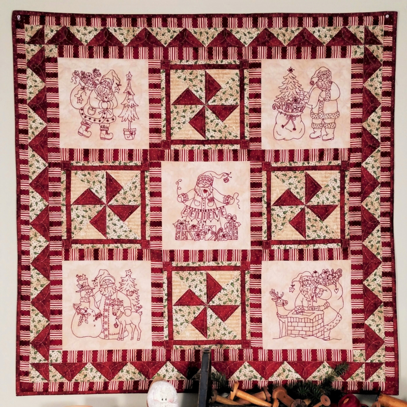 Believe in Santa Redwork Quilt