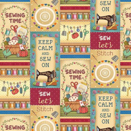 Quiltstof Sew Let's Stitch 4704-953