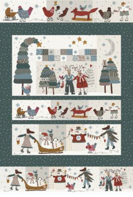 Quilt Panel Winter Playground groen - Lynette Anderson