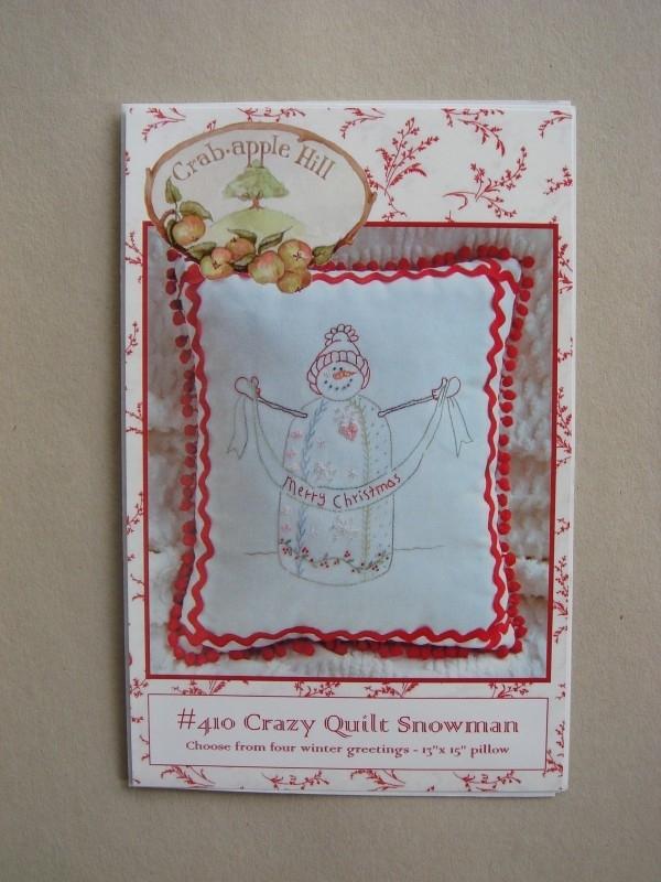 Crazy Quilt Snowman Pillow
