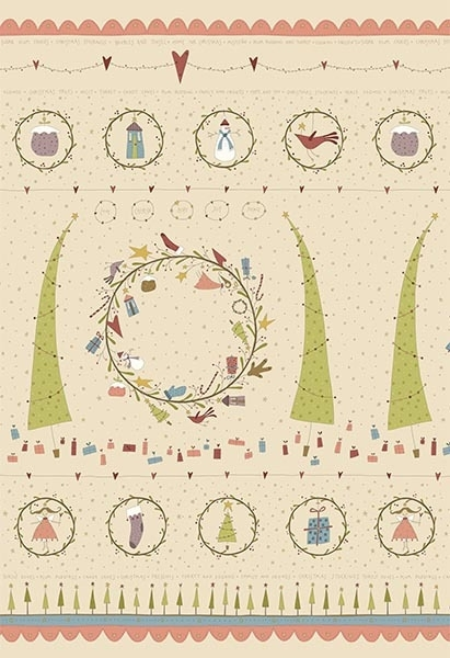 Quiltstof Panel Under the Mistletoe - Hatched and Patched
