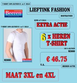 EXTRA ACTIE: 6 x BEEREN T-SHIRT R. HALS WIT - MAAT 3XL of 4XL  M3000 *bodykatoen