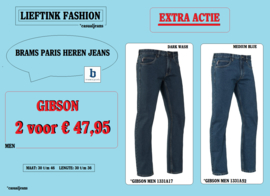 EXTRA ACTIE: 2 x BRAMS PARIS HEREN JEANS GIBSON - 1331A52 + 1331A17 *actiejeans