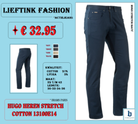 ACTIE: BRAMS PARIS HEREN STRETCH JEANS HUGO 13100E14 NAVY *actiejeans