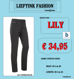 ACTIE: BRAMS PARIS DAMES STRETCH JEANS LILY - NEW TWILL BLACK 14340D50 *actiejeans