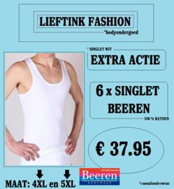 EXTRA ACTIE: 6 x BEEREN HEREN SINGLET WIT KATOEN - MAAT 3XL en 4XL - *casualunderwear
