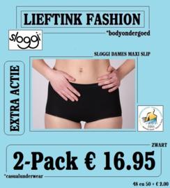 EXTRA ACTIE: 2-Pack SLOGGI DAMES MAXI SLIP - ZWART - BODY ONDERGOED *casualunderwear