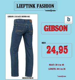 ACTIE: BRAMS PARIS HEREN JEANS GIBSON - MEDIUM BLUE DENIM 1331A52 - *casualjeans
