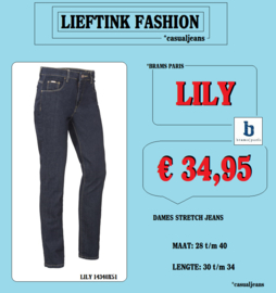 ACTIE:  BRAMS PARIS DAMES STRETCH JEANS LILY - DARK BLUE DENIM 14340X51*actiejeans