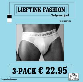 ACTIE ONLINE: 3-pack: -  BON GIORNO  - SLIP BANTAM - 100% Katoen *bodyondergoed