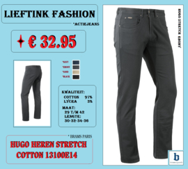ACTIE: BRAMS PARIS HEREN STRETCH JEANS HUGO 13100E14 EBONY *actiejeans