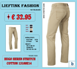 ACTIE: BRAMS PARIS HEREN STRETCH JEANS HUGO 13100E14 SAND *actiejeans