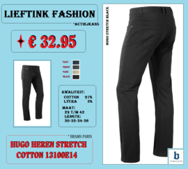 ACTIE: BRAMS PARIS HEREN STRETCH JEANS HUGO 13100E14 BLACK *actiejeans