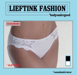 ACTIE: SASSA BASIS SLIP 44660 - WIT en ZWART - BODY LINGERIE - *casualunderwear
