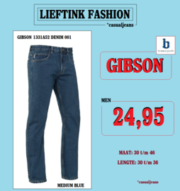 ACTIE: BRAMS PARIS HEREN JEANS GIBSON - MEDIUM BLUE DENIM 1331A52 - *actiejeans