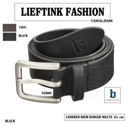 ACTIE: RANGER MALTA MEN'S REAL LEATHER BELT BRAMS PARIS  3.5 CM (410004)