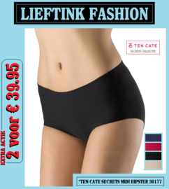 EXTRA ACTIE: 2 x TEN CATE SECRETS MIDI HIPSTER 30177 (Invisible Underwear) *bodyondergoed