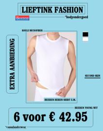 EXTRA ACTIE 6 x KOELE TACTEL MICROFIBER MOUWLOOS SHIRT WIT BEEREN YOUNG *bodyondergoed